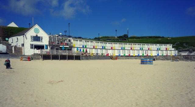 -WWII chalets at Porthgwiddan Beach, St Ives, Cornwall
