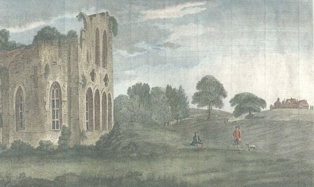 View_from_the_ruined_Halesowen_Priory_towards_The_Leasowes_(c__1750) Wikimedia Commons