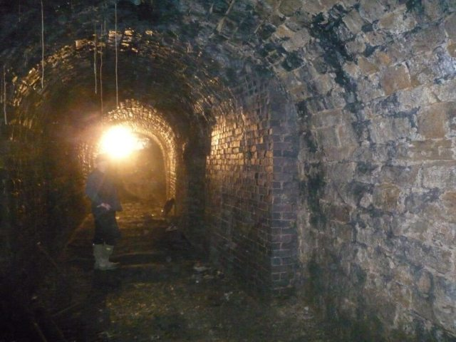 The inside of the tunnel as the Derbyshire Archaeological Society exposed and recorded their findings. (c) Derbyshire Archaeological Society