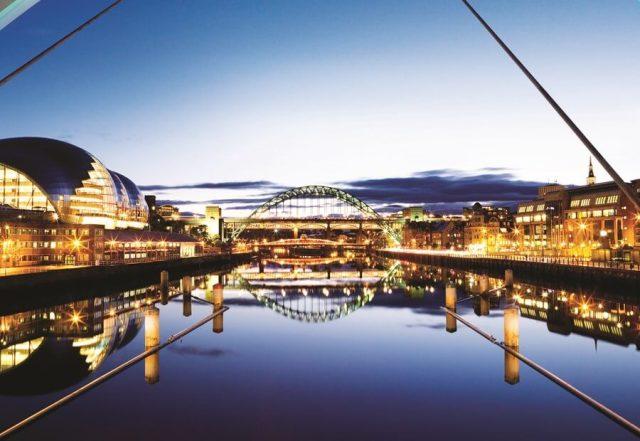 Sage Gateshead and the Tyne bridge, Tyneside