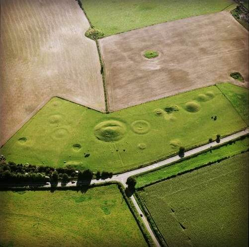 An aerial photograph of the Winterbourne Poor Lot Barrows © Historic England