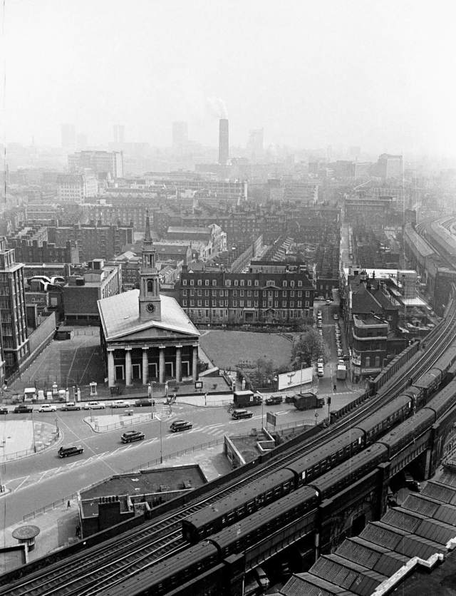 A view of the Church of St John in Lambeth from the roof of Waterloo Station in the 1960s
