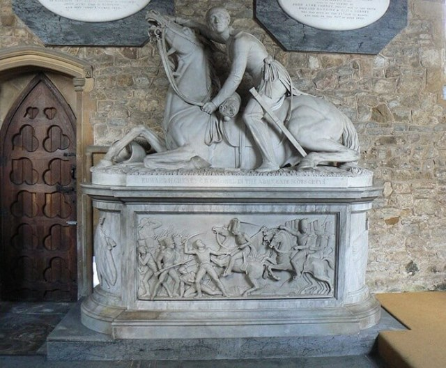 Lt Col Edward Cheney and his horse Tannar, within the Church of St Luke's, Gaddesby © Leicestershire County Council War Memorials Project