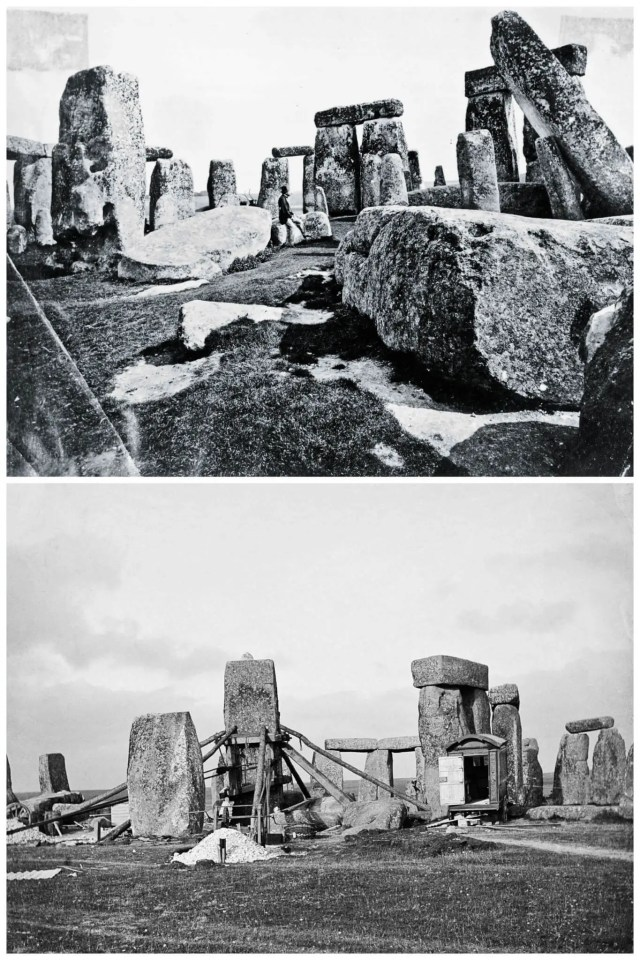 Above: Stonehenge prior to any 'restoration' (OP24751, Historic England Archive). Below: The straightening of stone 56 in 1901 (AA80/06439, Historic England Archive)