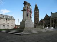 Here again Lutyens lifted a sculpture of a dead soldier lying on a bier to the top of a cenotaph, itself raised on a very tall plinth. This striking Cornish granite memorial was erected close to Rochdale Town Hall, a significant location as it had been the enlisting point for many local soldiers before they went off to war. It was unveiled 26 November 1922. Lutyens' original scheme was for a bridge. Photo courtesy of Tim Skelton