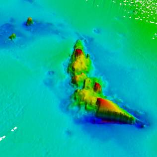 3D sonar image of the wreck of HMS Invincible, one of 25 British and German warships that were sunk during the Battle of Jutland. Crown Copyright.