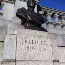 Commemorative bronze bust of Admiral Jellicoe by William McMillan and Sir Charles Wheeler on the north side of Trafalgar Square. © Historic England