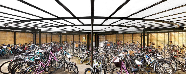 General view of circular bicycle shed