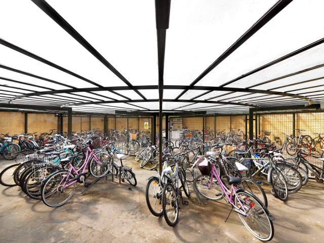 St Catherine's College bike store interior