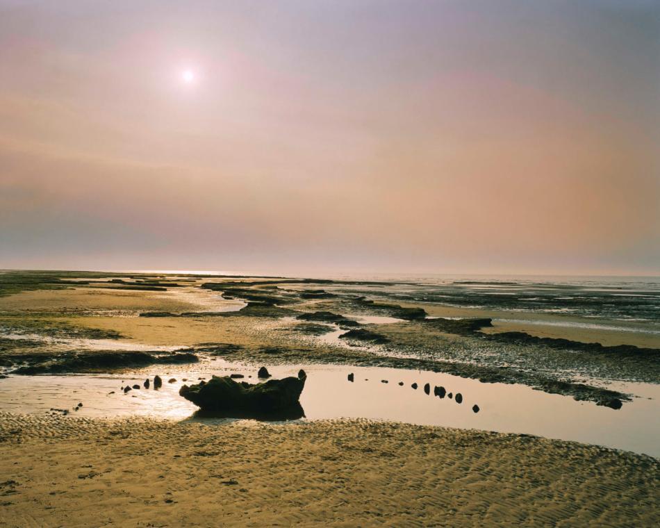 holme next the sea timber circle view at sunset