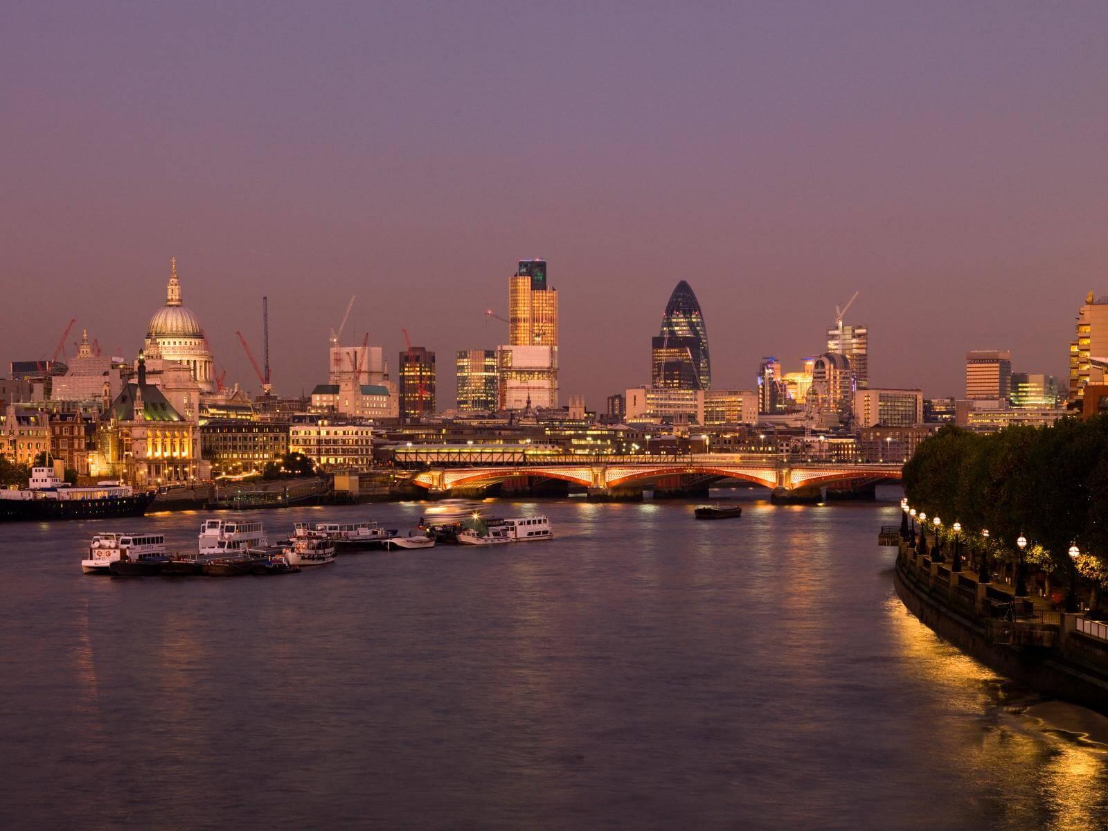 View Toward The City Of London From Waterloo Bridge Lambeth