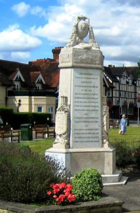 Datchet War Memorial, Berkshire. The six-sided frieze round the top has reliefs that include a tank, aircraft, bomb, airship and gas mask. Designed by Sir Lionel Cust, Keeper of the King's Pictures. Unveiled May 1920 Image via Rob Gordon for Datchet Village Society.