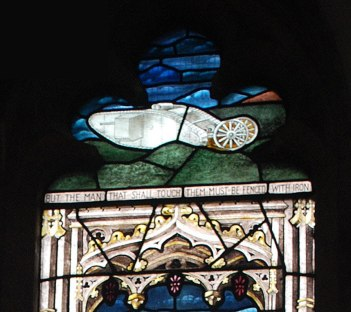 Stained glass tank detail in a commemorative First World War window, St Mary the Virgin church, Swffham Prior, Cambridgeshire © Paul Stamper