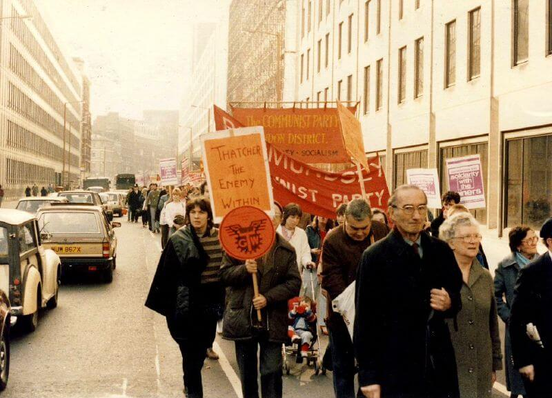 Miners' Strike rally, 1984 via Wikimedia Commons