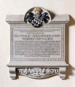 Warneford memorial plaque, St Michaels' church, Highworth, Wiltshire © Historic England/DP218226.