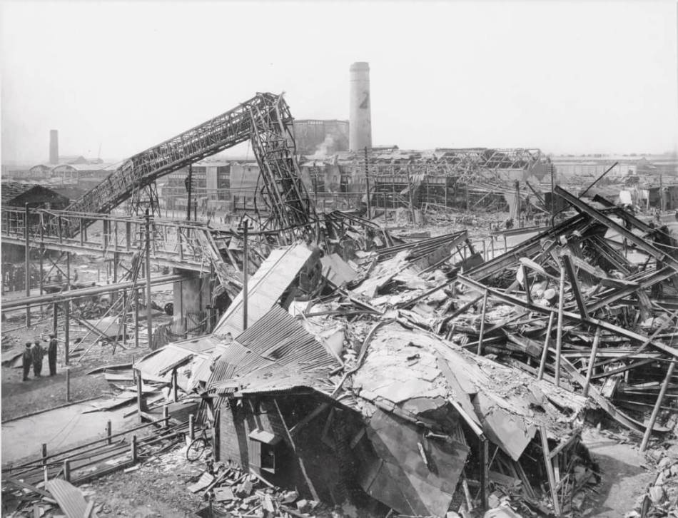 A destroyed factory building pictured after the blast