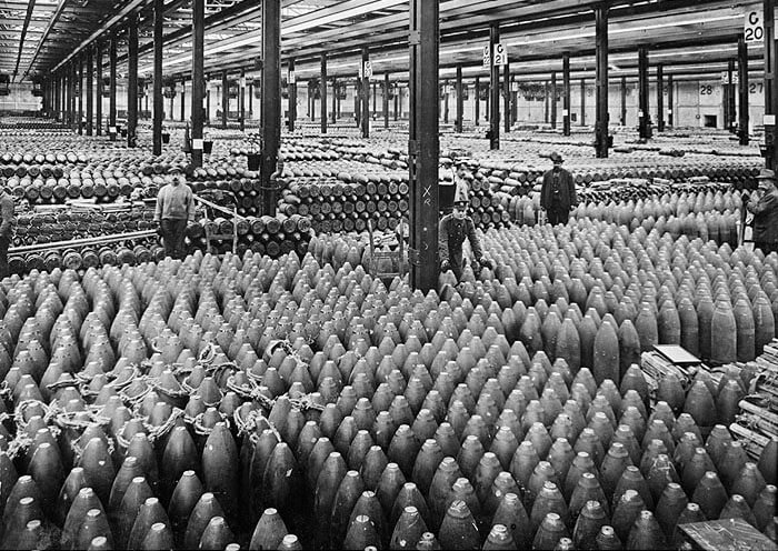 Interior high explosive shell filling shed