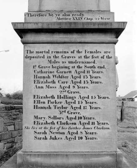 Husker Pit Disaster Memorial reads 'The Mortal remains of the Females are deposited in the Graves at the feet of the males as undernamed'. it lists the dead and their ages