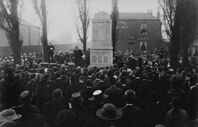 The unveiling of Rawcliffe War Memorial  with crowds gathered