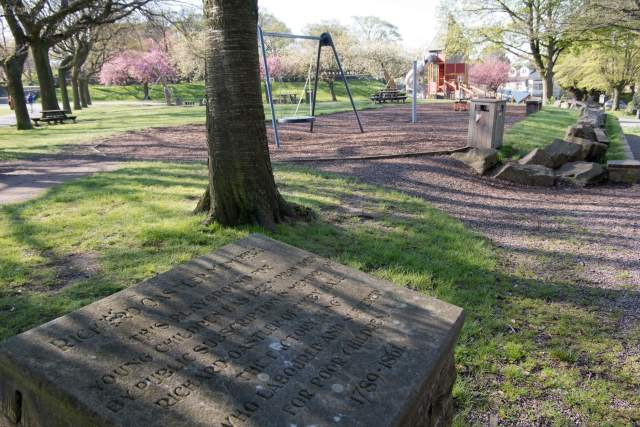 View of the memorial playground and commemorative slate to Richard Oastler