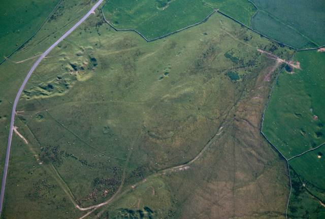 Aerial view of a well preserved Neolithic causewayed enclosure on Aughertree Fell in Cumbria