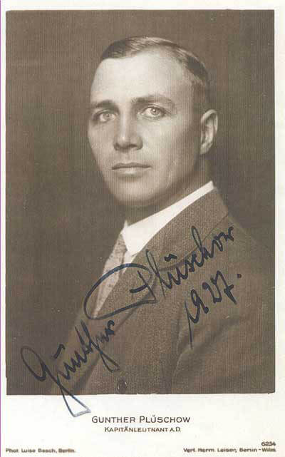 A potrait image of Gunther Pluschow with his name and date written over it
