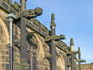 Church of St John the Baptist, Church Street, Halifax. Gargoyles on south side.