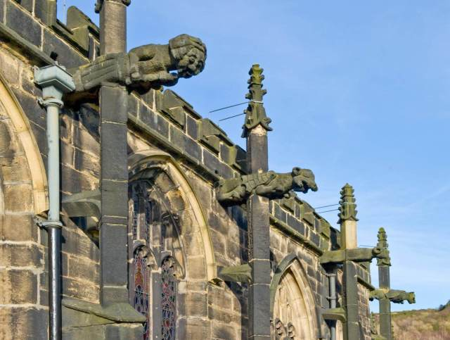 Church of St John the Baptist, Church Street, Halifax. Gargoyles on south side.