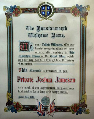 Certificate given in 1919 to Private Joshua Jones by the villagers of Hunstanworth, marking his safe return from the First World War.