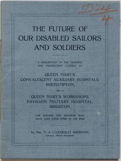 The front of a report reads 'The future of our disables sailors and soldiers'