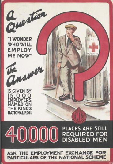 Poster encouraging employers to give jobs to disabled servicemen by joining the King's National Roll Scheme
