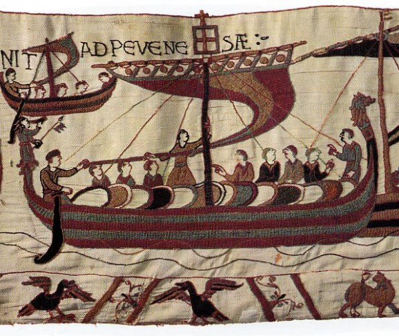Detail of the Bayeux Tapestry showing the dragon figurehead of William the Conqueror's flagship, Mora.