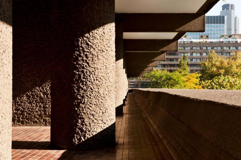Concrete c;olumn detail at the Barbican Centre