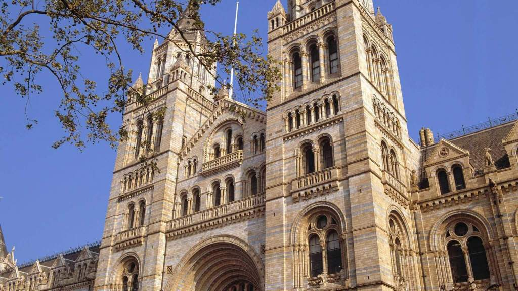 Exterior elevation of the Natural History Museum on a bright day