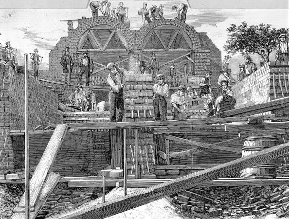 Sketch showing people constructing sewage tunnels