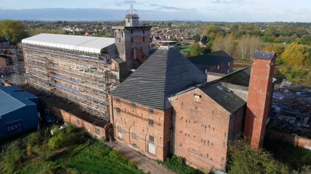Shrewsbury Flaxmill Maltings main mill during renovation c Historic England