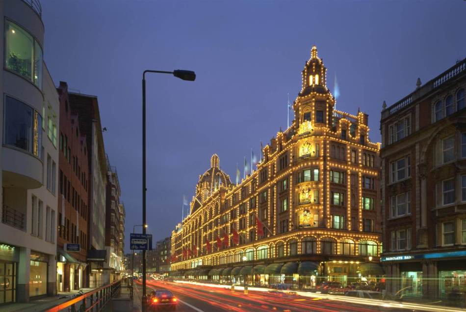 Harrods Department StoreView of store lit up at night