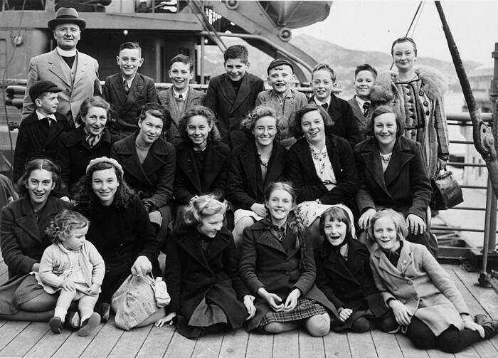 Child evacuees and their carers en route to New Zealand