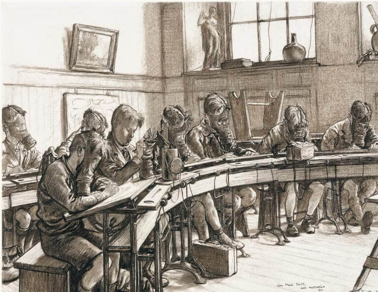 A 1941 drawing by Alex Macpherson of a class of children wearing gas masks