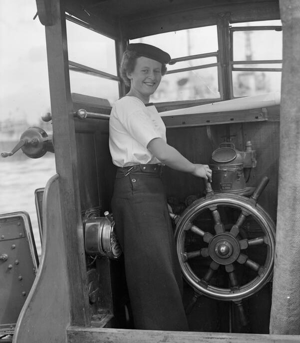 21 year old Wren coxswain, Pat Turner, photographed Plymouth, Devon, 7 July 1944