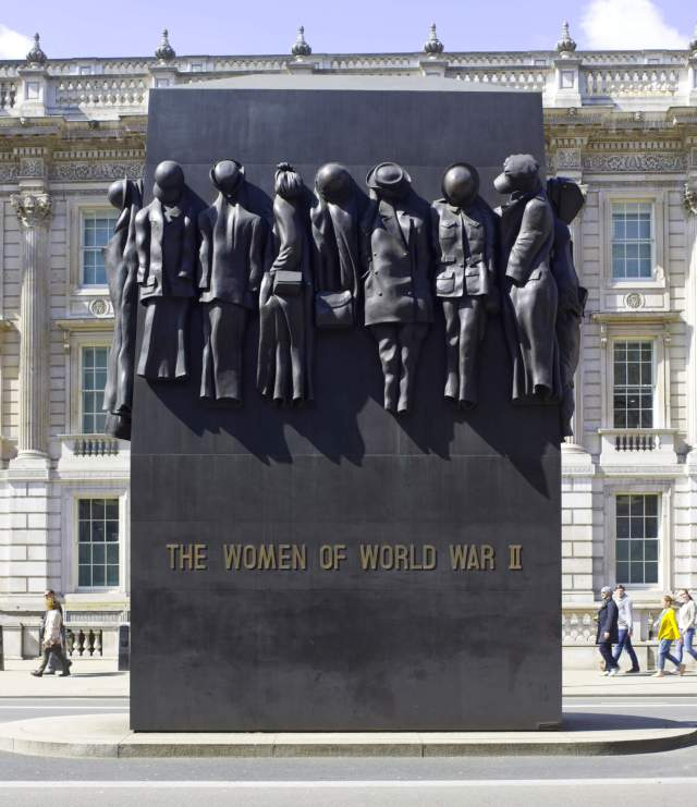 The 6.7 metre high bronze Women of World War II memorial, Whitehall, London