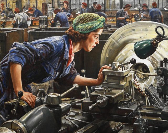 Factory worker Ruby Loftus working at an industrial lathe at the Royal Ordnance Factory, Newport, Wales. Oil painting by official war artist, Laura Knight