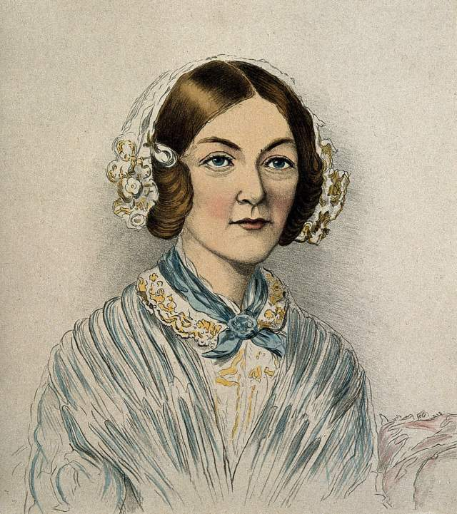 Coloured lithograph of Florence Nightingale in her thirties