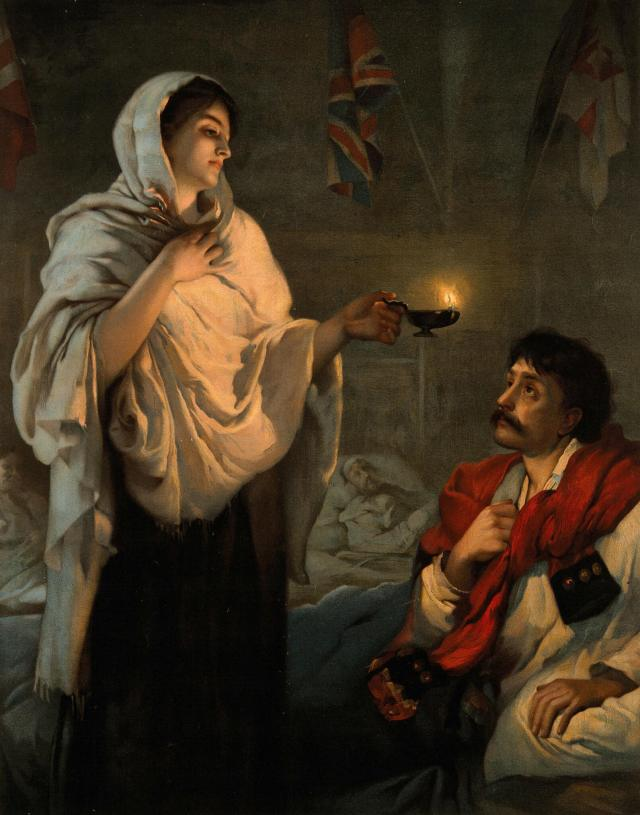 Image of Florence Nightingale with a lamp