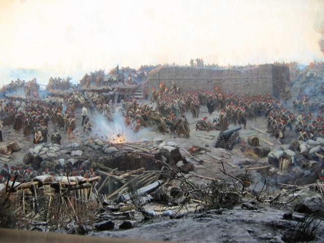 Detail of a huge painted panorama by Franz Roubaud depicting the start of the 11 month Allied siege of Sevastopol