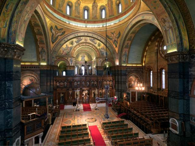 The Greek cathedral of Aghia Sophia, Moscow Road, London