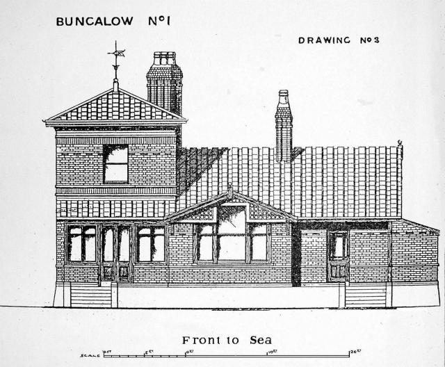 Elevation of Taylor's original bungalow at Westgate-on-Sea. Source: Building News July 7 1905.