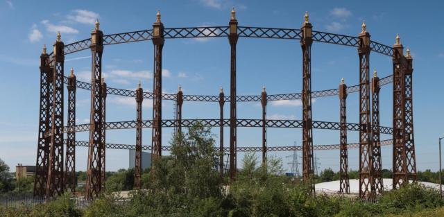 gasholder guide frame at Beckton Gasworkds