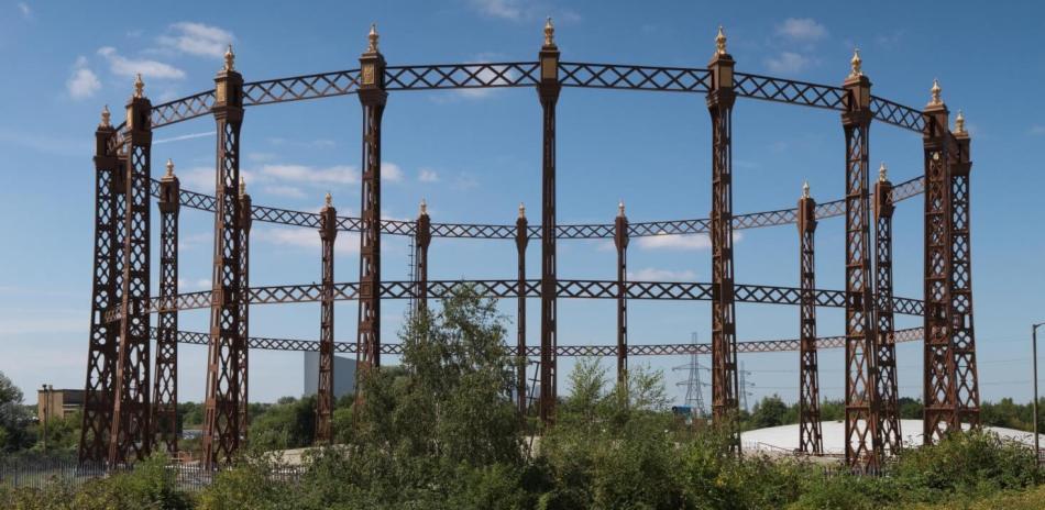 gasholder guide frame at Beckton Gasworkds