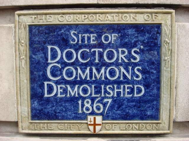 Plaque commemorating the site of Doctors' Commons